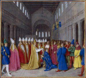 Le 25 décembre de l'an 800, à Saint-Pierre de Rome, Charlemagne est couronné empereur par le pape Léon III. Grandes Chroniques de France, BnF, Paris (version enluminée par Jean Fouquet).