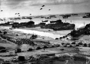 Le débarquement en Normandie des troupes alliées en juin 1944.