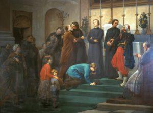Tableau de Charles Louis de Fredy de Coubertin évoquant le départ des missionnaires (Chapelle des Missions étrangères de Paris).
