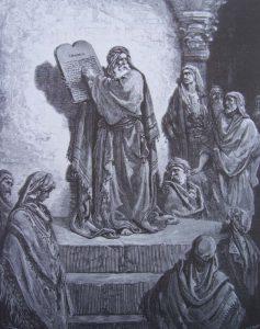 Illustration de Gustave Doré : Esdras montre le livre de la Loi.