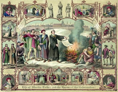 Luther brûlant publiquement les œuvres de Jan Eck, un livre de droit canon et la bulle condamnant ses propositions (Life of Martin Luther and the heroes of the Reformation, 1874).