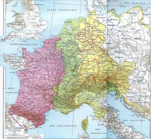 Le partage de l'Empire carolingien au traité de Verdun en 843.