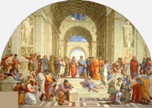 Célèbre représentation des différentes écoles de l'Antiquité : on reconnaît, au centre, Platon montrant le ciel du doigt (allusion à sa théorie des Idées) et Aristote montrant par opposition la terre (allusion à son souci d'ancrer le savoir dans l'examen des faits empiriques). Détail d'une fresque de Raphaël (v. 1511).