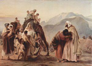 La réconciliation d'Ésaü et Jacob, Francesco Hayez, 1844, Pinacothèque Tosio Martinengo, Brescia, Italie.